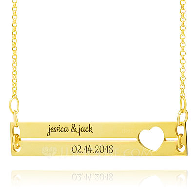 Christmas Gifts For Her - Custom 18k Gold Plated Silver Couple Two Bar Necklace With Heart