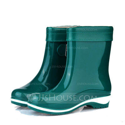 Women's PVC Low Heel Closed Toe Boots Ankle Boots Rain Boots With Buckle shoes