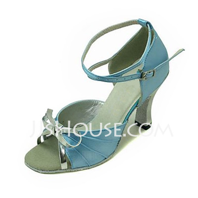 Women's Satin Leatherette Sandals Latin Ballroom With Bowknot Dance Shoes