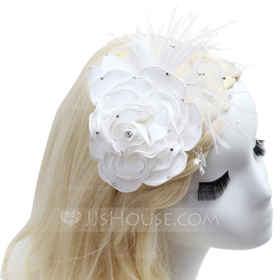 Charming Feather/Satin Flowers & Feathers