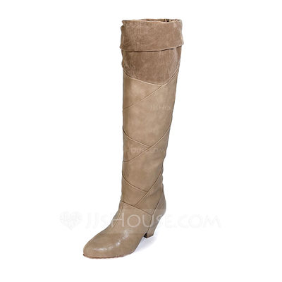 Women's Leatherette Chunky Heel Boots Knee High Boots shoes