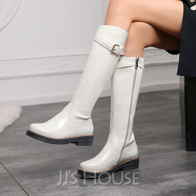 Women's Leatherette Low Heel Knee High Boots Round Toe With Buckle shoes