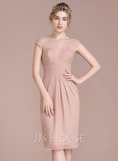 Sheath/Column Scoop Neck Knee-Length Chiffon Lace Bridesmaid Dress With Ruffle