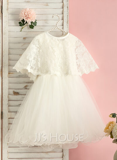 A-Line Knee-length Flower Girl Dress - Tulle Sleeveless Scoop Neck With Beading/Bow(s)