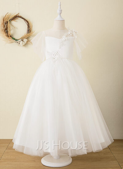 Ball-Gown/Princess Ankle-length Flower Girl Dress - Satin/Tulle/Lace Short Sleeves Scoop Neck With V Back