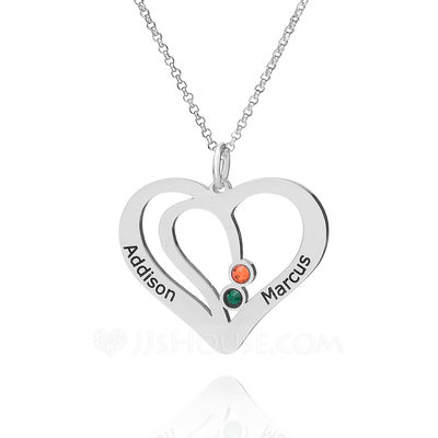 Christmas Gifts For Her - Custom Sterling Silver Double Overlapping Two Heart Necklace Birthstone Necklace With Diamond