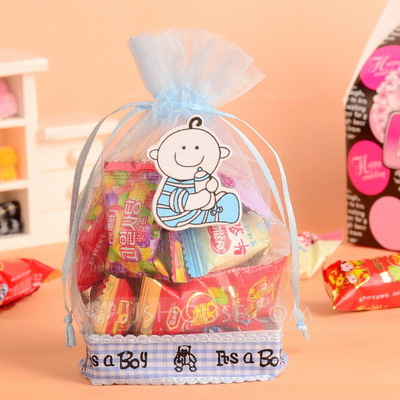 """""""Happy Baby"""" Basket Favor Bags With Ribbons (Set of 12)"""