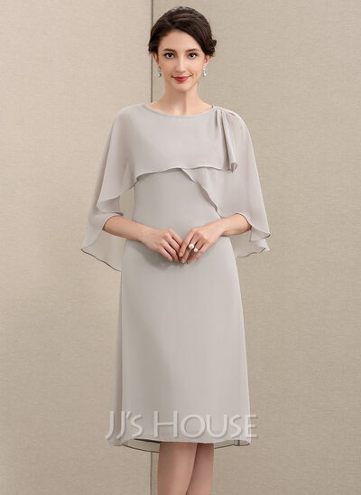 A-Line Scoop Neck Knee-Length Chiffon Mother of the Bride Dress
