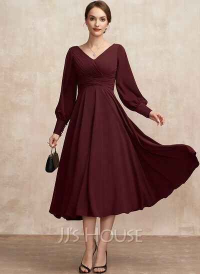 A-Line V-neck Tea-Length Mother of the Bride Dress With Ruffle