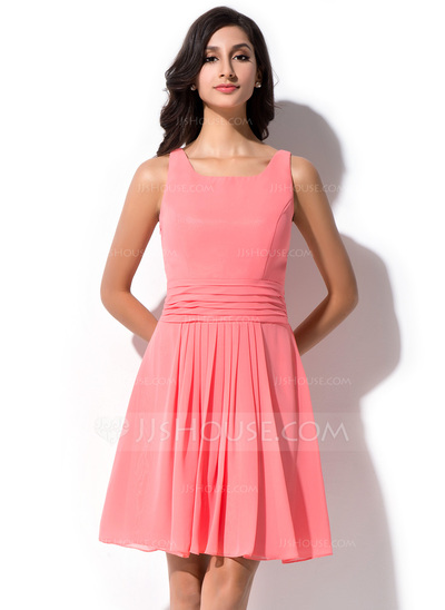 A-Line/Princess Square Neckline Knee-Length Chiffon Bridesmaid Dress With Ruffle