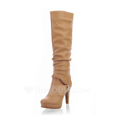 Leatherette Stiletto Heel Knee High Boots With Rhinestone shoes