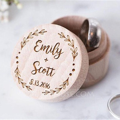 Groom Gifts - Personalized Elegant Wooden Ring Box