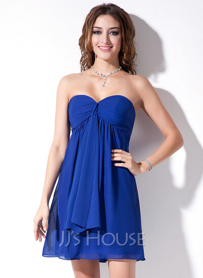 Empire Sweetheart Short/Mini Chiffon Bridesmaid Dress With Cascading Ruffles