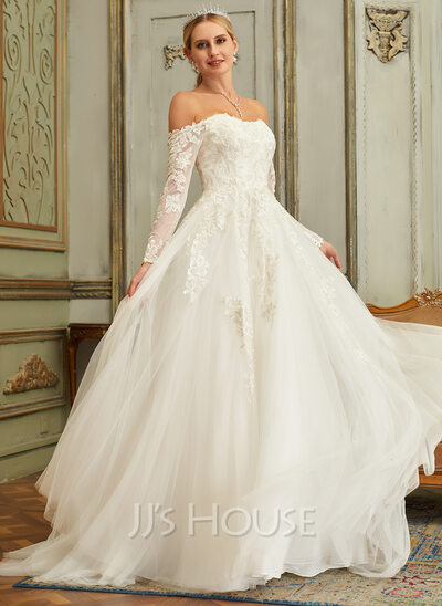 Ball-Gown/Princess Off-the-Shoulder Sweep Train Tulle Lace Wedding Dress With Lace