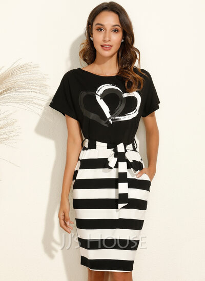 Print Striped Bodycon Round Neck Short Sleeves Midi Casual Pencil Dresses