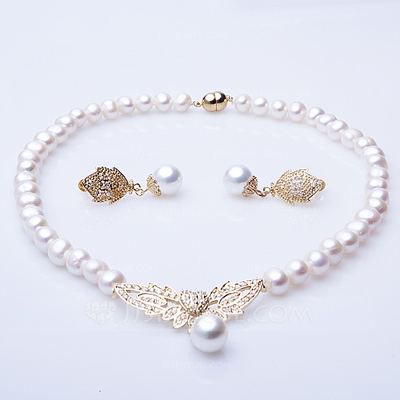 "Leaves Shaped Pearl/""A"" Level Pearl Ladies' Jewelry Sets"