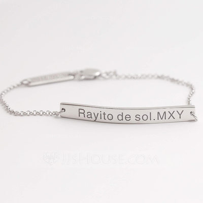 Personalized Ladies' Stylish 925 Sterling Silver Engraved Bracelets For Bride/For Bridesmaid/For Friends