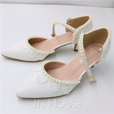 Women's Leatherette Closed Toe With Applique Pearl