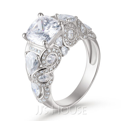 Five Stone Cushion Cut 925 Silver Engagement Rings