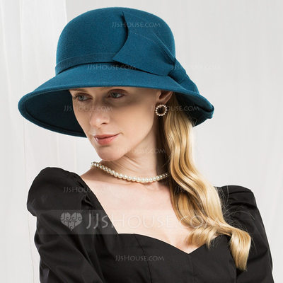 Ladies' Simple/High Quality Wool With Imitation Butterfly Floppy Hat
