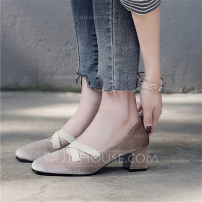 Women's Velvet Chunky Heel Pumps Closed Toe Mary Jane With Others shoes