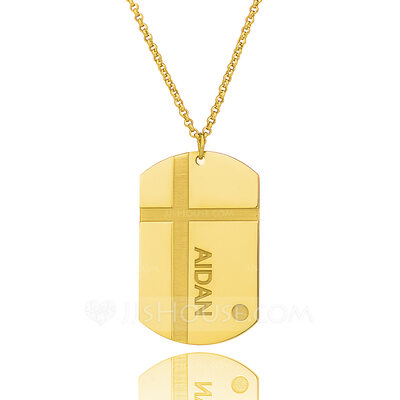 Christmas Gifts For Her - Custom 18k Gold Plated Silver Engraved Necklace Nameplate