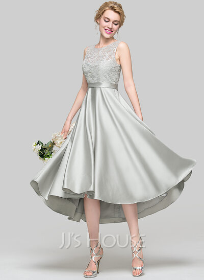 A-Line Scoop Neck Asymmetrical Satin Bridesmaid Dress