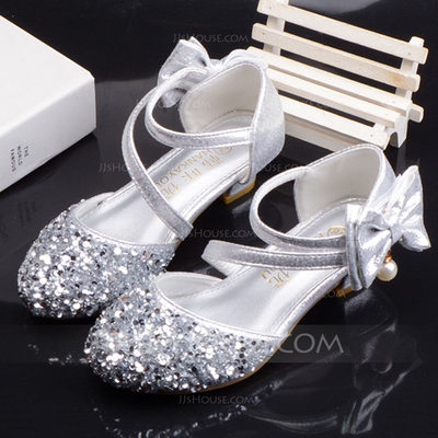 Girl's Round Toe Closed Toe Leatherette Sparkling Glitter Low Heel Flats Flower Girl Shoes With Bowknot Velcro (207185199)