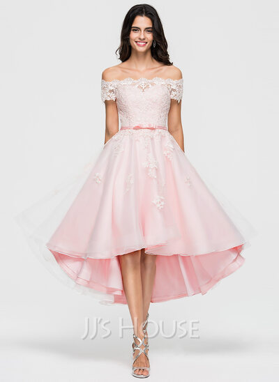 A-Line Off-the-Shoulder Asymmetrical Organza Cocktail Dress