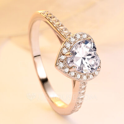 925 Sterling Silver Ring Cubic Zirconia Hearts Size L,O,Q Ladies New Gift Bag