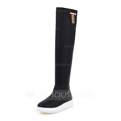 Women's Leatherette Flat Heel Boots Knee High Boots shoes