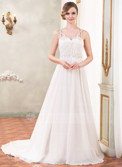 A-Line/Princess Sweetheart Cathedral Train Chiffon Wedding Dress With Ruffle Beading Sequins