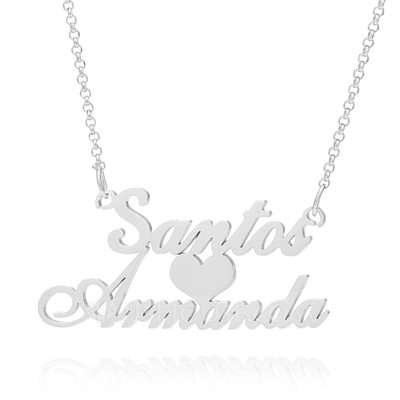 Christmas Gifts For Her - Custom Sterling Silver Two Name Necklace With Heart