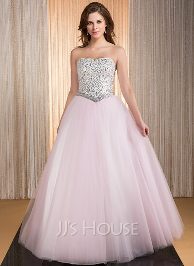 Ball-Gown Sweetheart Floor-Length Taffeta Tulle Quinceanera Dress With Beading Sequins