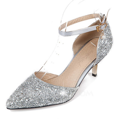 Women's Leatherette Stiletto Heel Sandals Pumps Closed Toe Mary Jane With Sparkling Glitter Buckle shoes