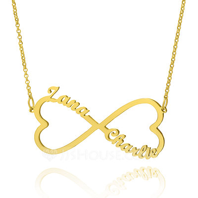 Christmas Gifts For Her - Custom 18k Gold Plated Silver Infinity Two Name Necklace With Heart