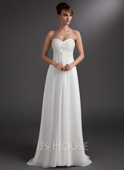 Chiffon Empire Sweetheart Sweep Train Bridesmaid Dress With Beaded Lace Appliques