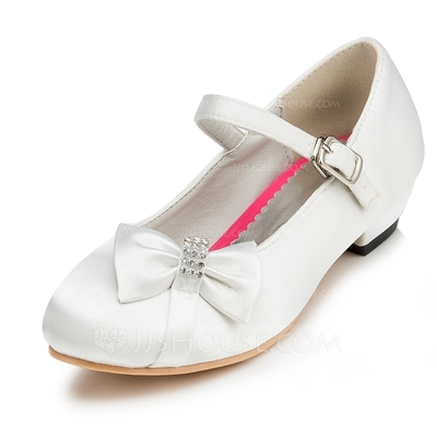 Girl's Closed Toe Satin Low Heel Flower Girl Shoes With Bowknot Rhinestone