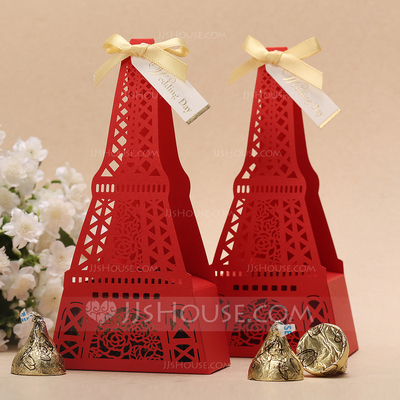 Eiffel Favor Boxes With Ribbons (Set of 12)