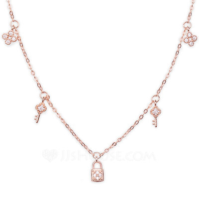 18k Rose Gold Plated Silver Key Charm Necklace