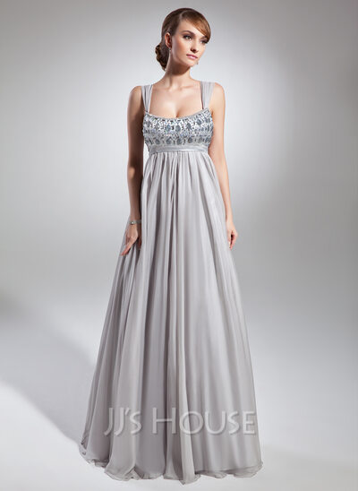 Empire Scoop Neck Floor Length Chiffon Holiday Dress With