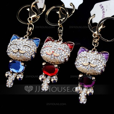 Classic Lovely cat Crystal/Chrome Keychains