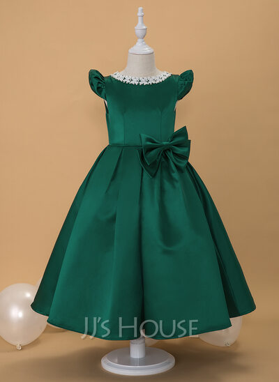 Ball-Gown/Princess Ankle-length Flower Girl Dress - Satin Short Sleeves Scoop Neck With Lace/Beading/Bow(s)