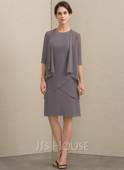 A-Line Scoop Neck Knee-Length Chiffon Mother of the Bride Dress With Sequins
