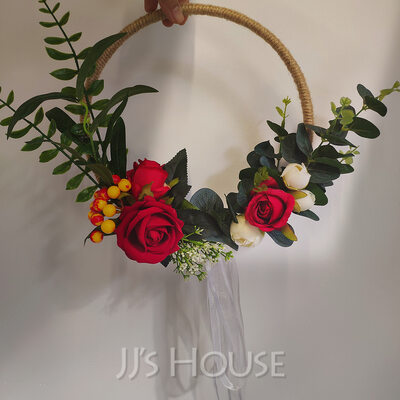 Classic Hand-tied Satin/Emulational Berries/Silk Flower/Linen Rope/Artificial Flower Bridal Bouquets/Bridesmaid Bouquets/Wedding Table Flowers (Sold in a single piece) - Bridal Bouquets/Bridesmaid Bouquets