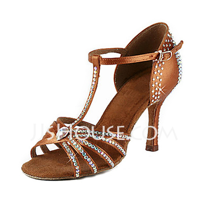 Women's Satin Heels Sandals Latin With Rhinestone T-Strap Dance Shoes