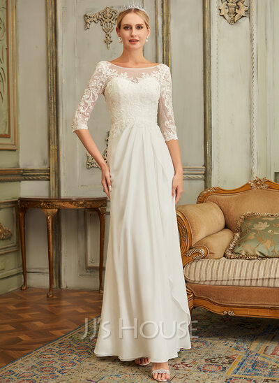 A-Line Scoop Neck Floor-Length Chiffon Lace Wedding Dress With Beading Sequins