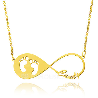 Christmas Gifts For Her - Custom 18k Gold Plated Silver Baby Footprint Infinity Necklace Infinity Name Necklace With Kids Names