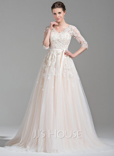 Ball Gown V Neck Court Train Tulle Wedding Dress With Beading Liques Lace Sequins