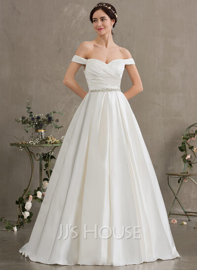 Ball-Gown/Princess Off-the-Shoulder Court Train Satin Wedding Dress With Ruffle Beading Sequins